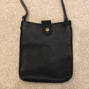 Black Pebbled leather crossbody purse